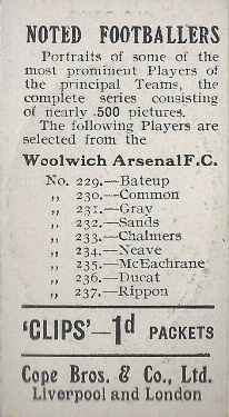 Woolwich Arsenal 500 back